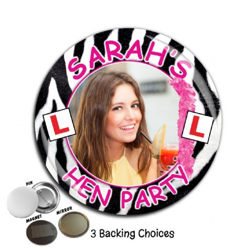 Large 75mm Personalised Bachelorette Hen Night Party PHOTO Badge N3